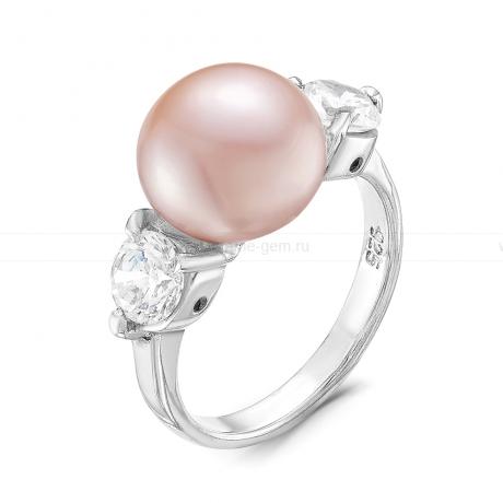 Кольцо из серебра с розовой жемчужиной 10-10,5 мм. Артикул 8727