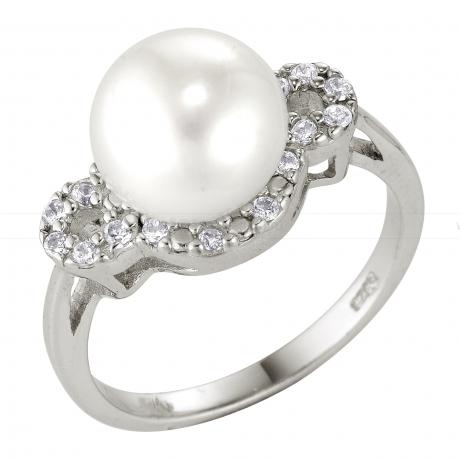 Кольцо из серебра 925 пробы с белой жемчужиной 10 мм. Артикул 8743