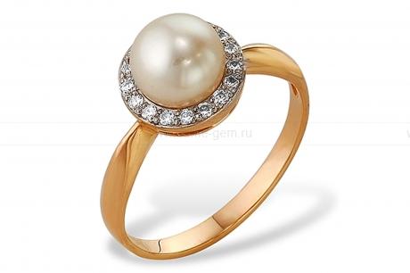 Кольцо из серебра 925 пробы с белой жемчужиной 7,5-8,5 мм. Артикул 8798