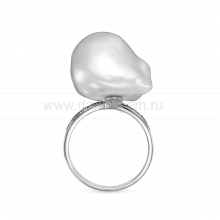 Кольцо из серебра с белой барочной жемчужиной 19-20 мм. Артикул 8816