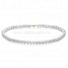 Ожерелье из серебристого морского жемчуга Акойя (Япония) 7-7,5 мм. Артикул 9093