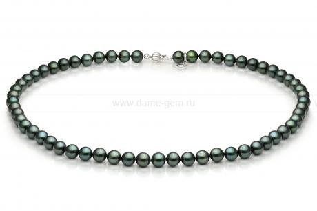Ожерелье из черного круглого морского жемчуга Акойя (Япония) 7-7,5 мм. Артикул 9094