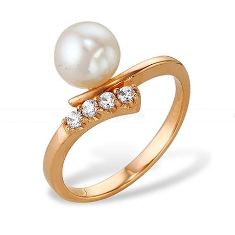 Кольцо из золота с белой жемчужиной. Артикул 9152