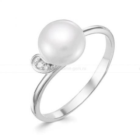 Кольцо из белого золота с белой жемчужиной 8,5-9 мм. Артикул 9153