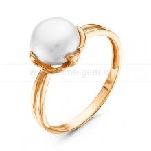 Кольцо из красного золота с белой жемчужиной 7,5-8 мм. Артикул 9154