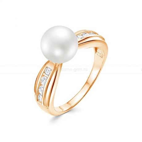 Кольцо из красного золота с белой жемчужиной 8,5-9 мм. Артикул 9155