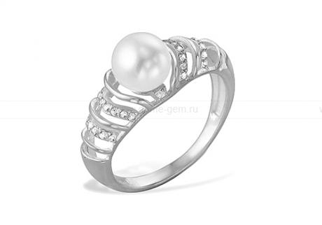 Кольцо из белого золота с белой жемчужиной 7-7,5 мм. Артикул 9158