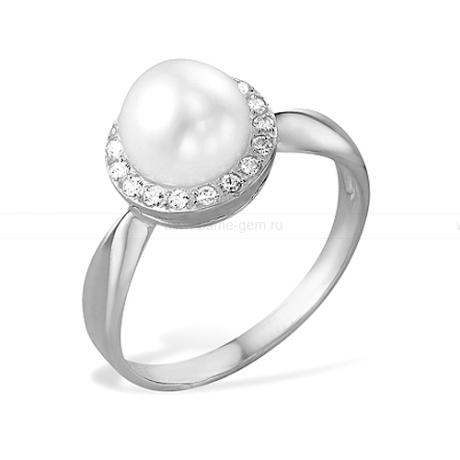 Кольцо из белого золота с белой жемчужиной 7-7,5 мм. Артикул 9159