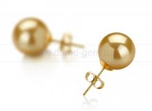 Пусеты из золота с золотистыми жемчужинами Акойя 8-8,5 мм. Артикул 9165