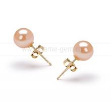 Пусеты из серебра с розовыми жемчужинами 7,5-8 мм. Артикул 9169