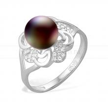 Кольцо из серебра с черной жемчужиной 8-8,5 мм. Артикул 9191