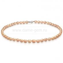 Колье (ожерелье) из персикового речного жемчуга. Артикул 9221