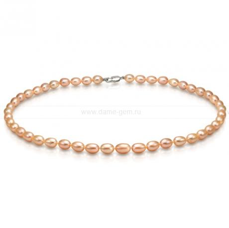 Ожерелье из персикового рисообразного речного жемчуга 6-6,5 мм. Артикул 9221