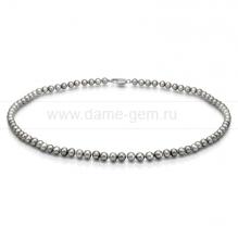 Колье (ожерелье) из серого речного жемчуга. Артикул 9222