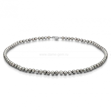 Ожерелье из серого круглого речного жемчуга 5,5-6 мм. Артикул 9222