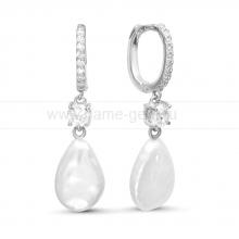 Серьги из серебра с белыми жемчужинами 11-16 мм. Артикул 9229