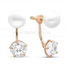 """Двойные пусеты """"Dior"""" с белым речным жемчугом. Артикул 9237"""