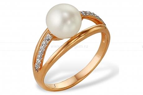 Кольцо из серебра с белой жемчужиной 8,5-9 мм. Артикул 9245
