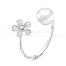 """Двойное кольцо """"Dior"""" с белым речным жемчугом. Артикул 9253"""