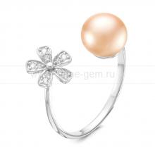 """Двойное кольцо """"Dior"""" с розовым речным жемчугом. Артикул 9257"""