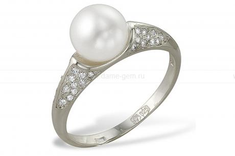 Кольцо из серебра 925 пробы с белой жемчужиной 10 мм. Артикул 9258