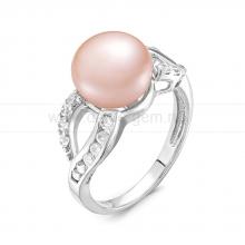 Кольцо из серебра с розовой жемчужиной 9,5-10 мм. Артикул 9259