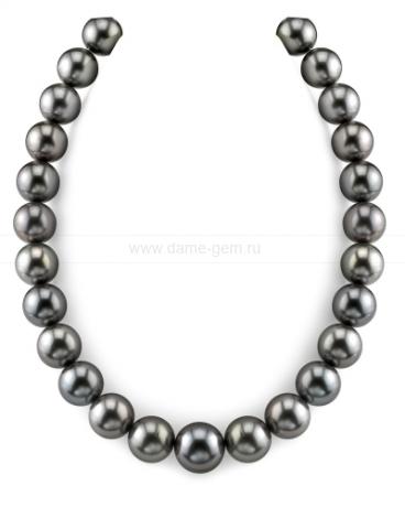 Ожерелье из черного круглого морского Таитянского жемчуга 13-15,2 мм. Артикул 9270