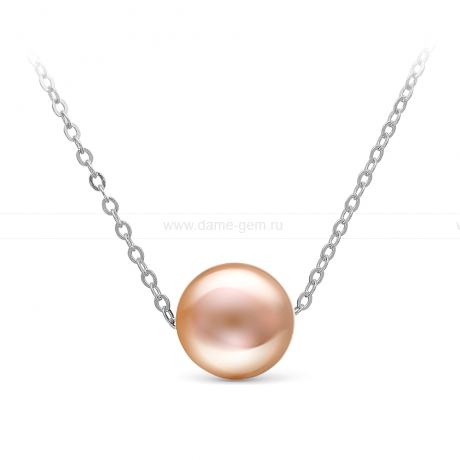 Цепочка из белого золота с розовой жемчужиной. Артикул 9277
