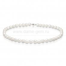 Ожерелье из белого барочного речного жемчуга 10-11 мм. Артикул 9282