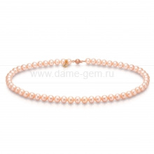 Ожерелье из персикового круглого морского жемчуга 6-6,5 мм. Артикул 9317