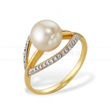 Кольцо из желтого золота с белой жемчужиной 7-7,5 мм. Артикул 9322