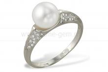 Кольцо из белого золота с белой жемчужиной 8,5-9 мм. Артикул 9323