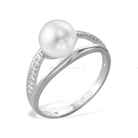 Кольцо из золота с белой жемчужиной. Артикул 9324