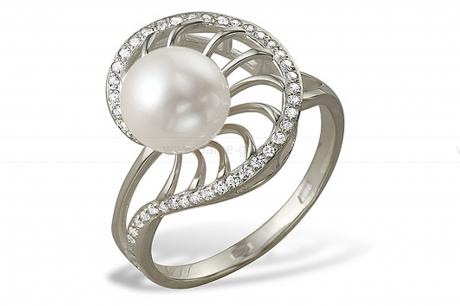 Кольцо из белого золота с белой жемчужиной 7-7,5 мм. Артикул 9325