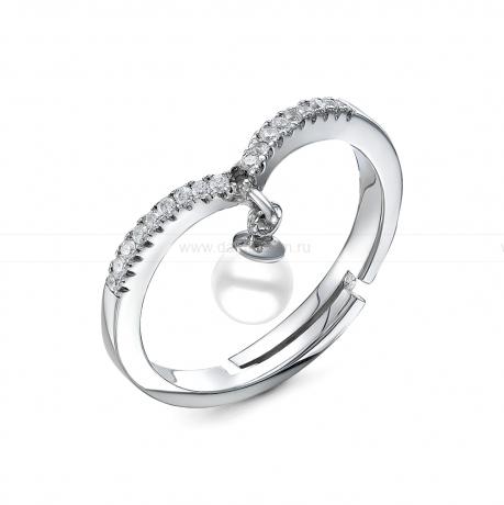 Кольцо из белого золота с белой морской жемчужиной Акойя 7-7,5 мм. Артикул 9327