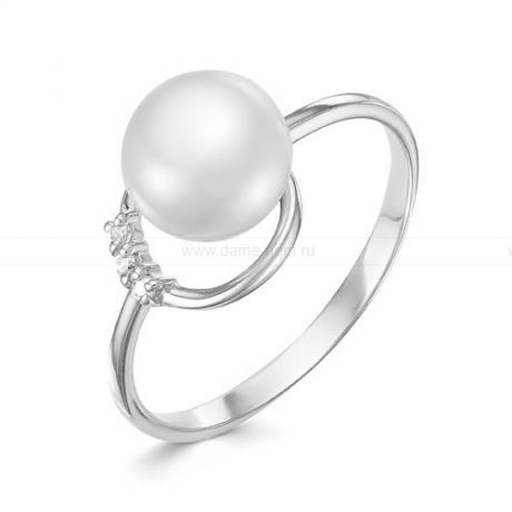 Кольцо из белого золота с белой жемчужиной 8,5-9 мм. Артикул 9329