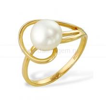 Кольцо из желтого золота с белой жемчужиной. Артикул 9330