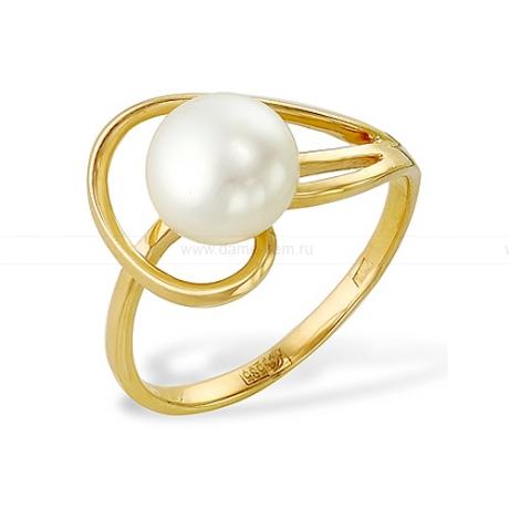 Кольцо из желтого золота с белой жемчужиной 7-7,5 мм. Артикул 9330