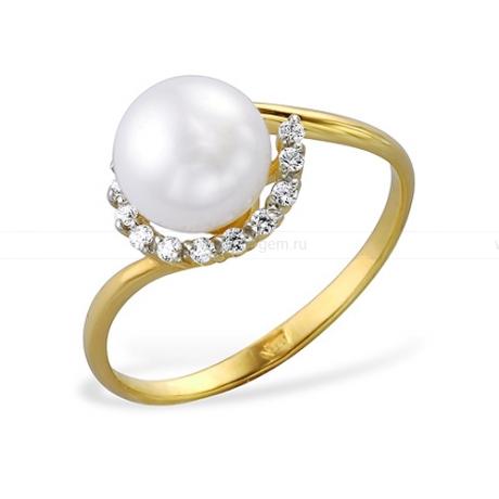 Кольцо из желтого золота с белой жемчужиной 7-7,5 мм. Артикул 9331
