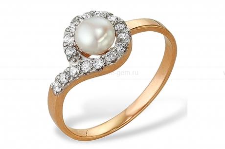 Кольцо из красного золота с белой жемчужиной 7-7,5 мм. Артикул 9332