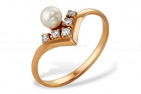 Кольцо из красного золота с белой жемчужиной 7-7,5 мм. Артикул 9333