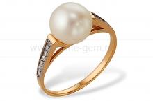 Кольцо из золота с белой жемчужиной. Артикул 9334