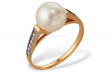 Кольцо из красного золота с белой жемчужиной 7-7,5 мм. Артикул 9334