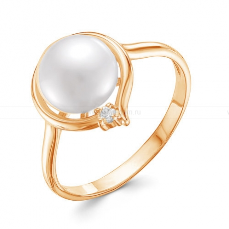 Кольцо из красного золота с белой жемчужиной 9,5-10 мм. Артикул 9336