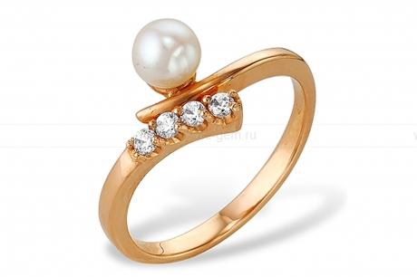 Кольцо из красного золота с белой жемчужиной 6,5-7 мм. Артикул 9337