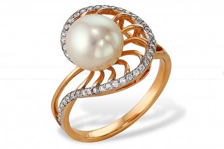 Кольцо из красного золота с белой жемчужиной 7-7,5 мм. Артикул 9338