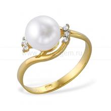 Кольцо из золота с белой жемчужиной. Артикул 9339
