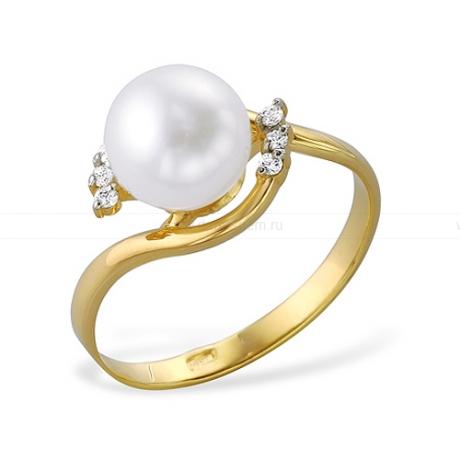 Кольцо из желтого золота с белой жемчужиной 7-7,5 мм. Артикул 9339