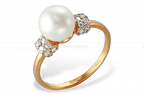 Кольцо из красного золота с белой жемчужиной 7-7,5 мм. Артикул 9341