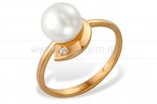 Кольцо из золота с белой жемчужиной. Артикул 9342